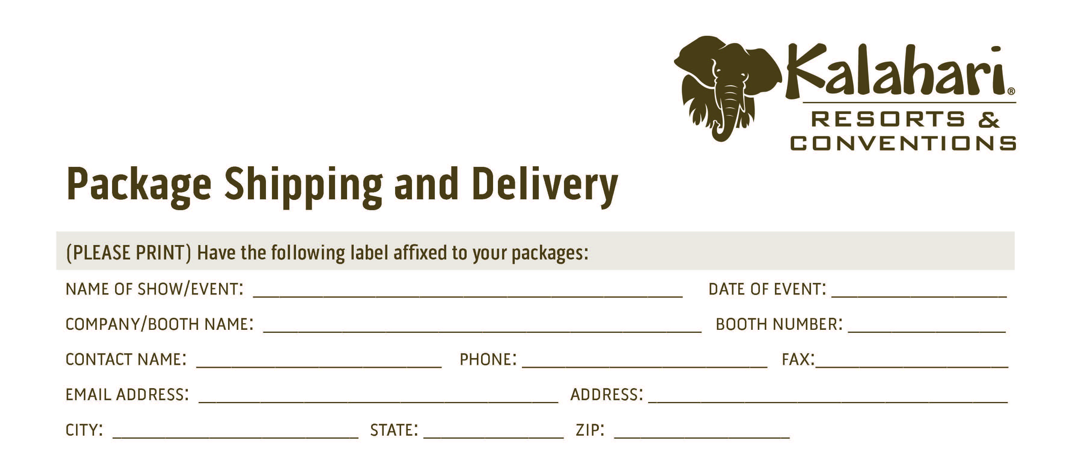 2022 Kalahari shipping delivery form TOP SECTION